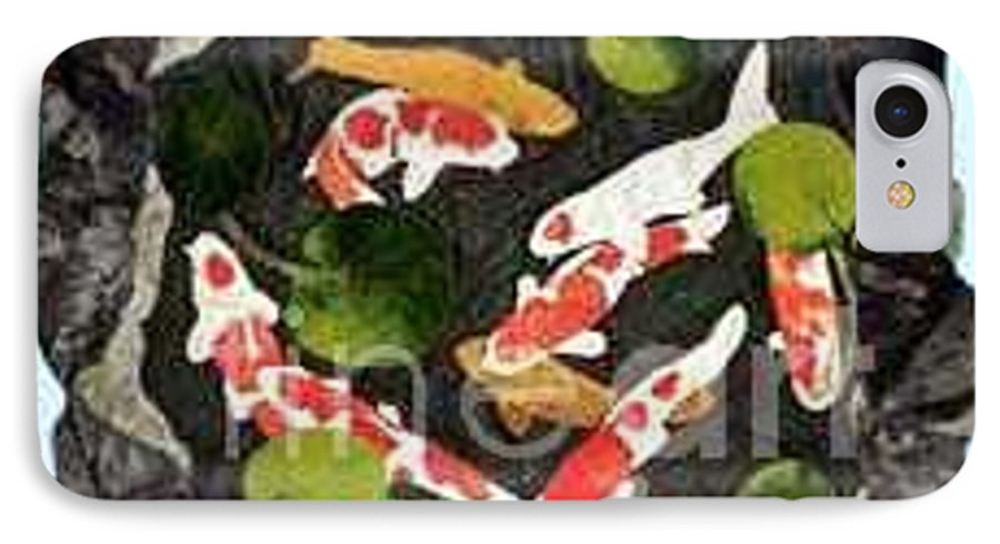 Fiber IPhone 7 Case featuring the tapestry - textile Koi Fest by Jenny Williams