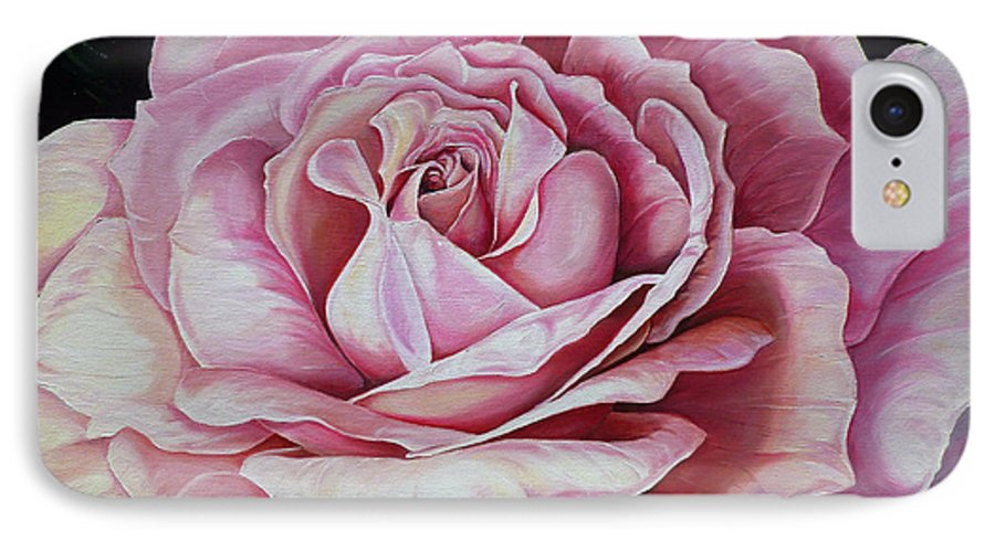 Rose Painting Pink Rose Painting  Floral Painting Flower Painting Botanical Painting Greeting Card Painting IPhone 7 Case featuring the painting La Bella Rosa by Karin Dawn Kelshall- Best