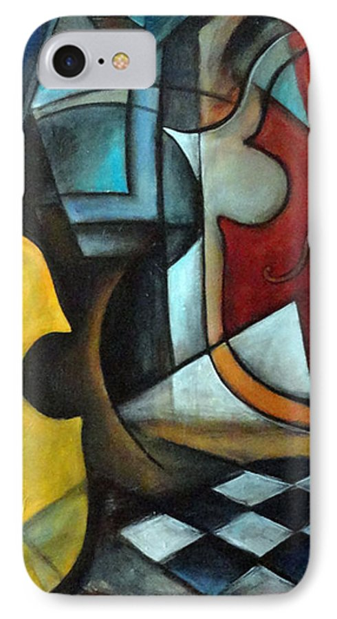 Abstract IPhone 7 Case featuring the painting La Musique 1 by Valerie Vescovi