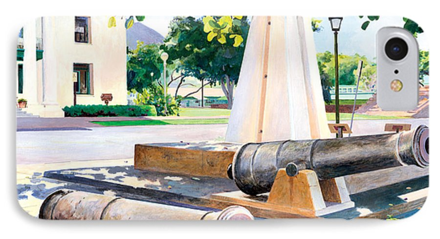 Lahaina Maui Cannons IPhone 7 Case featuring the painting Lahaina 1812 Cannons by Don Jusko