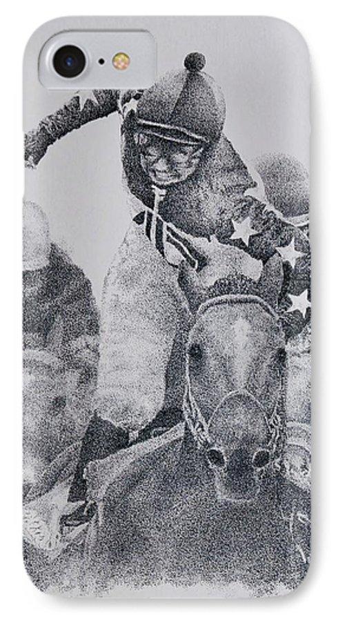 Horses Horse Racing Jockeys Racetrack Azeri Thorobreds IPhone 7 Case featuring the painting Last Call by Tony Ruggiero