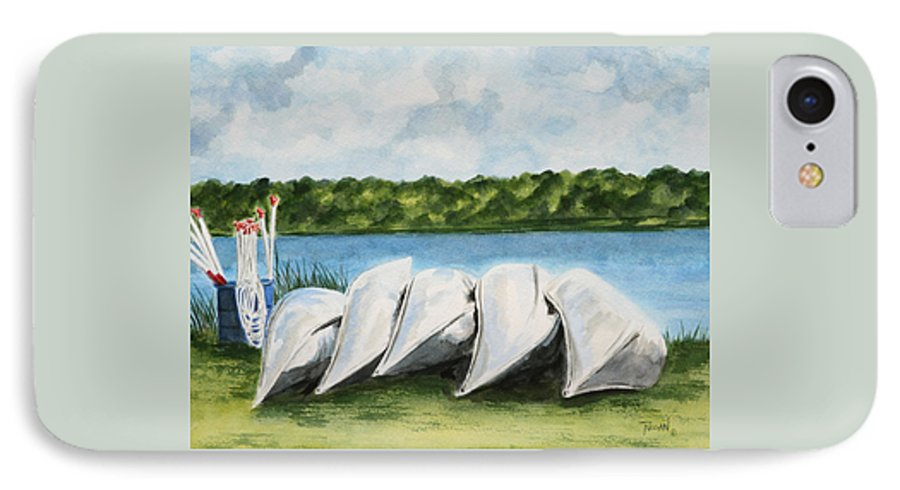 Canoes IPhone 7 Case featuring the painting Lazy River by Regan J Smith