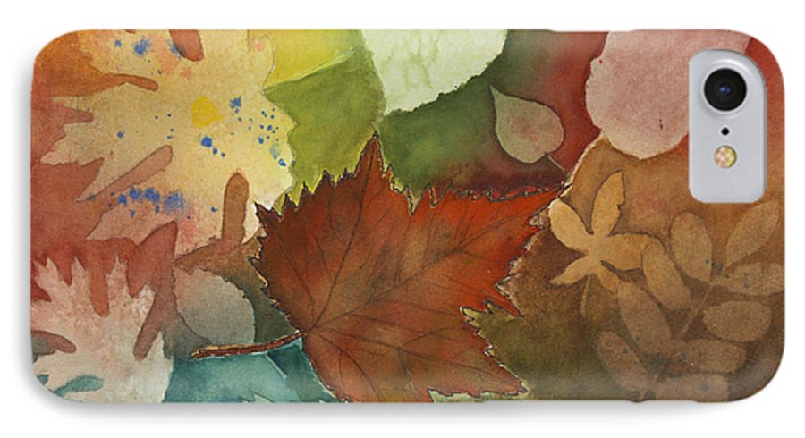 Leaves IPhone 7 Case featuring the painting Leaves Vl by Patricia Novack