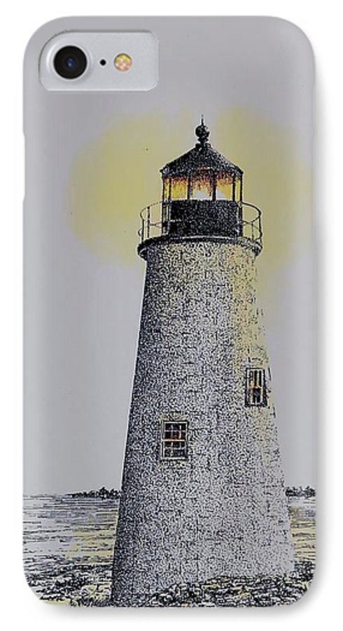 New England Lighthouse Seascape Landscape Pen & Ink Watercolor Coastline Connecticut IPhone 7 Case featuring the painting Light On The Sound by Tony Ruggiero