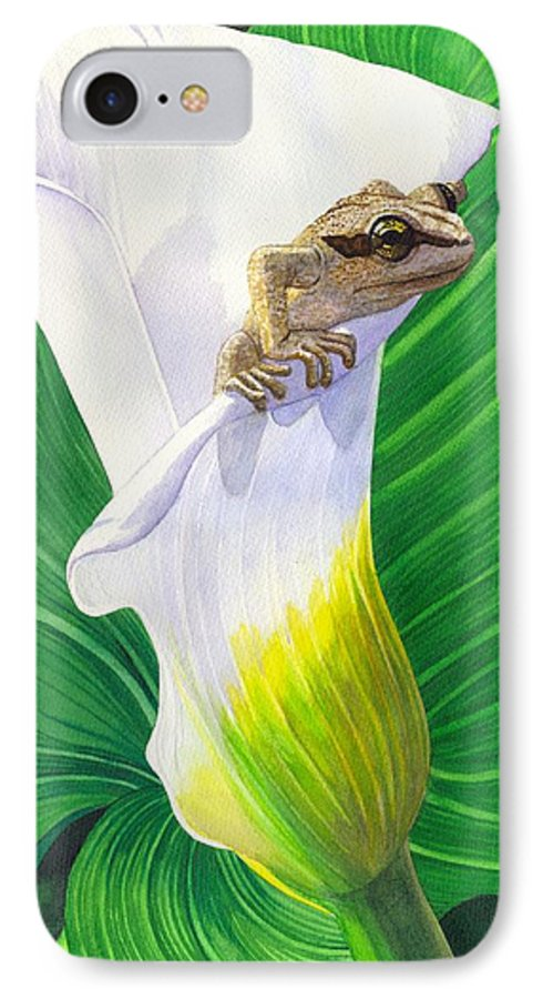 Frog IPhone 7 Case featuring the painting Lily Dipping by Catherine G McElroy