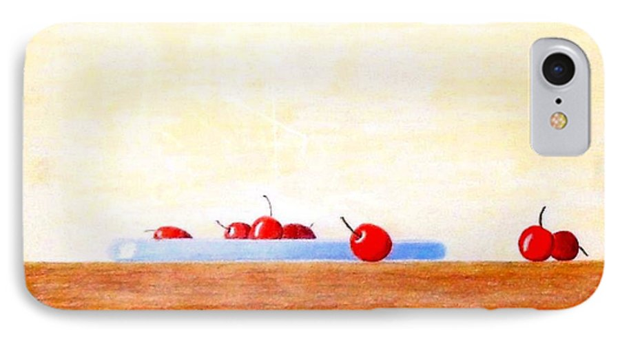 Cherries IPhone 7 Case featuring the painting Lite Life by A Robert Malcom