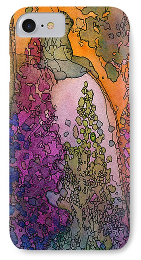 Fantasy IPhone 7 Case featuring the painting Little Girl On A Rock by Christina Rahm Galanis