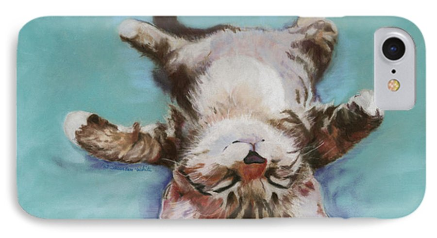 Cat Painting IPhone 7 Case featuring the pastel Little Napper by Pat Saunders-White