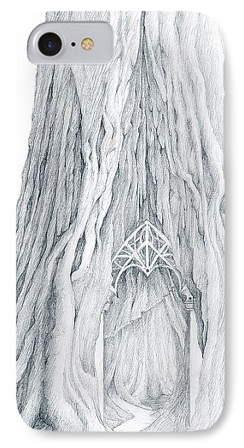 Lothlorien IPhone 7 Case featuring the drawing Lothlorien Mallorn Tree by Curtiss Shaffer