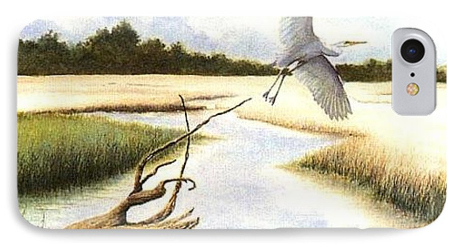 Egret IPhone 7 Case featuring the painting Low Country Marsh by Ben Kiger