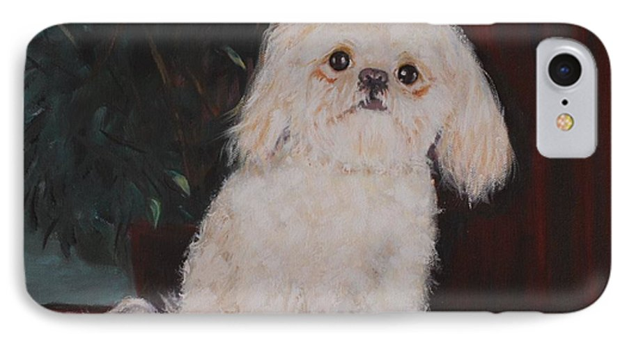 Dog IPhone 7 Case featuring the painting Lulu by Quwatha Valentine