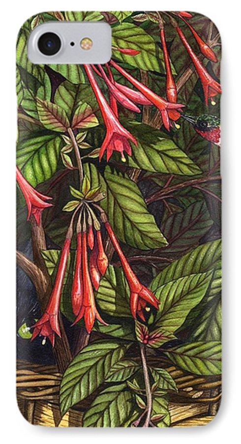 Fuchsia IPhone 7 Case featuring the painting Lurking by Catherine G McElroy