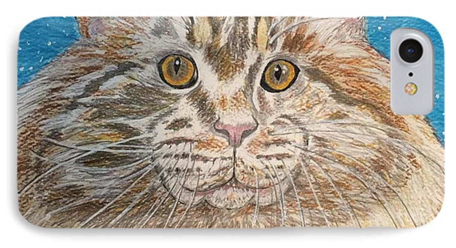 Maine IPhone 7 Case featuring the painting Maine Coon Cat by Kathy Marrs Chandler