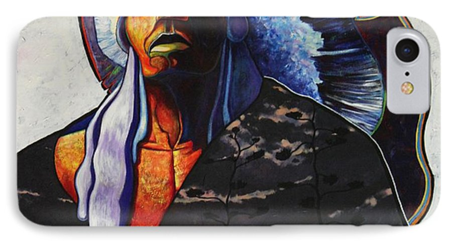 Native American IPhone 7 Case featuring the painting Make Me Worthy by Joe Triano