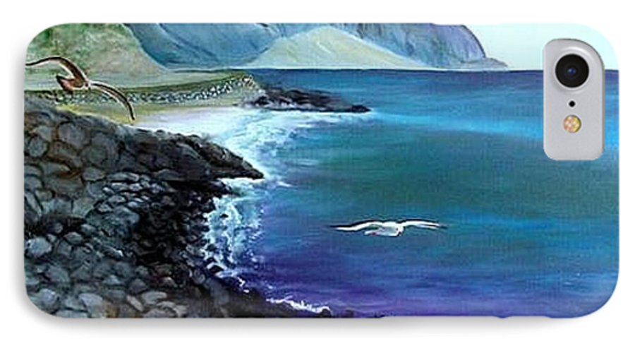 Malibu Beach IPhone 7 Case featuring the painting Malibu Beach by Lora Duguay
