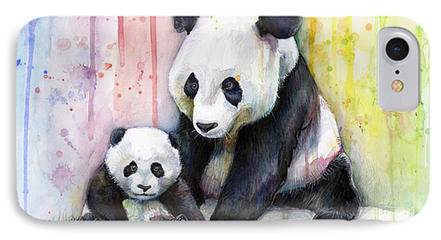 Watercolor IPhone 7 Case featuring the painting Panda Watercolor Mom And Baby by Olga Shvartsur