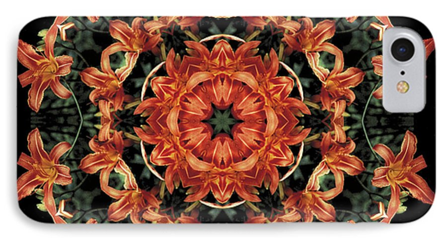Mandala IPhone 7 Case featuring the photograph Mandala Daylily by Nancy Griswold