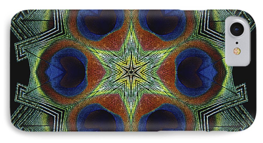 Mandala IPhone 7 Case featuring the digital art Mandala Peacock by Nancy Griswold