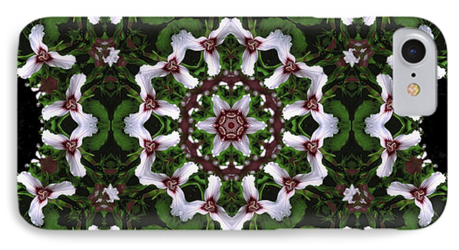 Mandala IPhone 7 Case featuring the digital art Mandala Trillium Holiday by Nancy Griswold