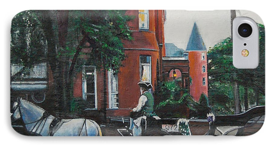 IPhone 7 Case featuring the painting Mansion On Forsythe Savannah Georgia by Jude Darrien