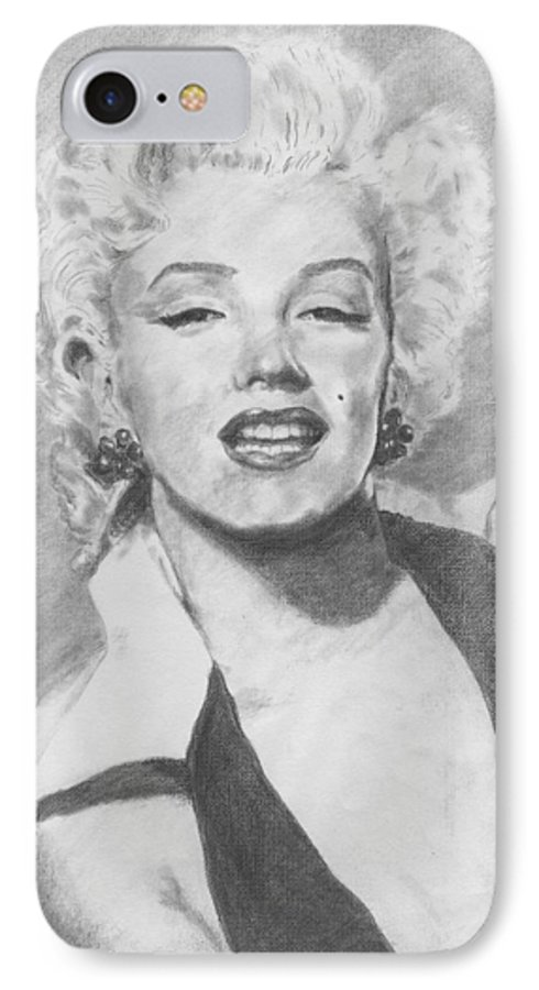 Marilyn IPhone 7 Case featuring the drawing Marilyn. by Janice Gell