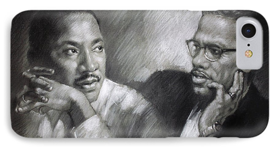 Malcolm X IPhone 7 Case featuring the drawing Martin Luther King Jr And Malcolm X by Ylli Haruni