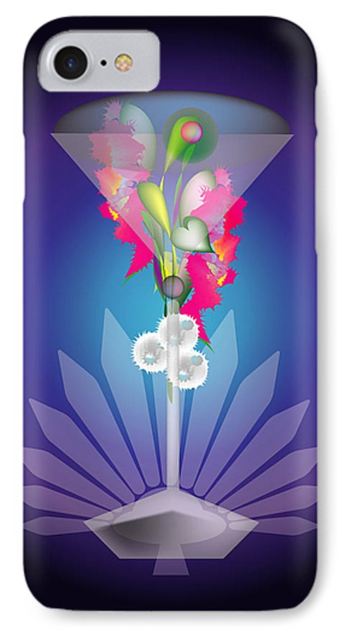 Martini IPhone 7 Case featuring the digital art Martini Flower by George Pasini