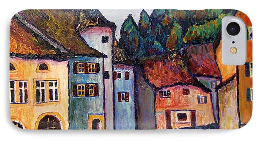 Medieval IPhone 7 Case featuring the painting Medieval Village Of St. Ursanne Switzerland by Art Nomad Sandra Hansen
