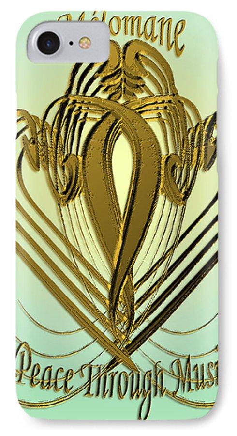 Music IPhone 7 Case featuring the digital art Melomane - Peace Through Music by Michele Avanti