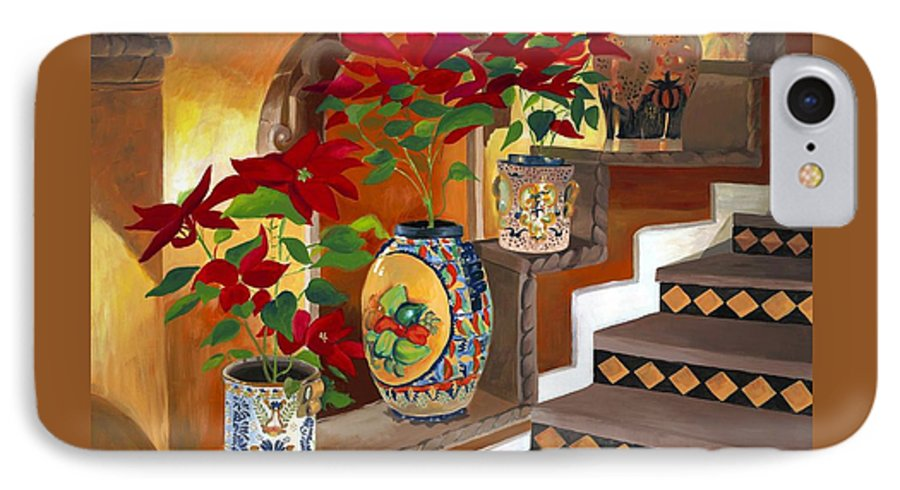 Mexican Pottery IPhone 7 Case featuring the painting Mexican Pottery On Staircase by Judy Swerlick