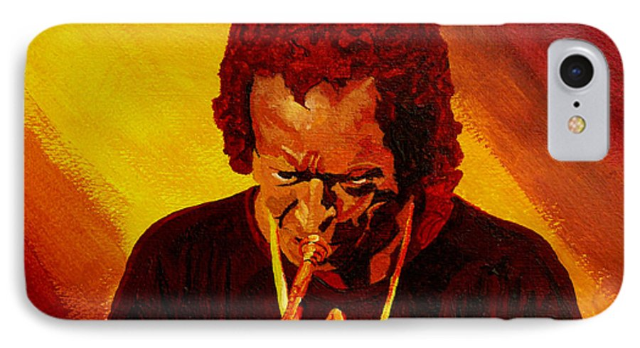 Miles Davis IPhone 7 Case featuring the painting Miles Davis Jazz Man by Anthony Dunphy