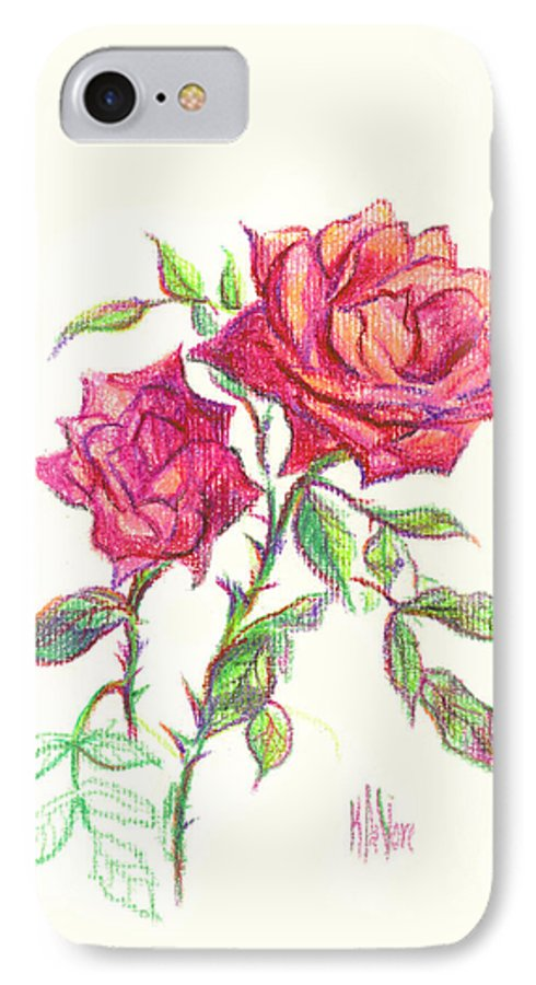 Nature IPhone 7 Case featuring the painting Minature Red Rose by Kip DeVore