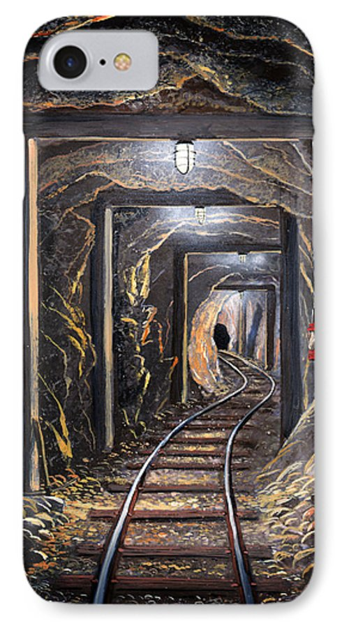 Mural IPhone 7 Case featuring the painting Mine Shaft Mural by Frank Wilson