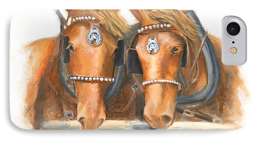 Horse IPhone 7 Case featuring the painting Mini And Jake by Jerry McElroy