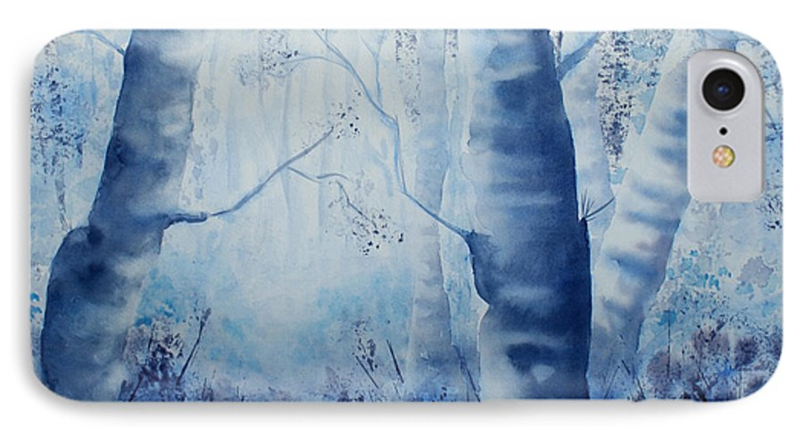 Landscape IPhone 7 Case featuring the painting Misty Blue by Janice Gell