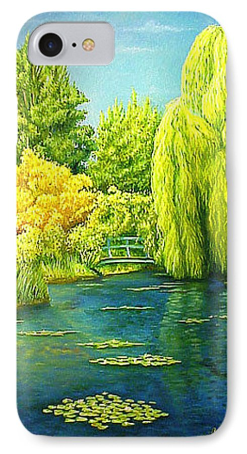 Monets Lily Pond IPhone 7 Case featuring the painting Monets Lily Pond In Green by Gary Hernandez