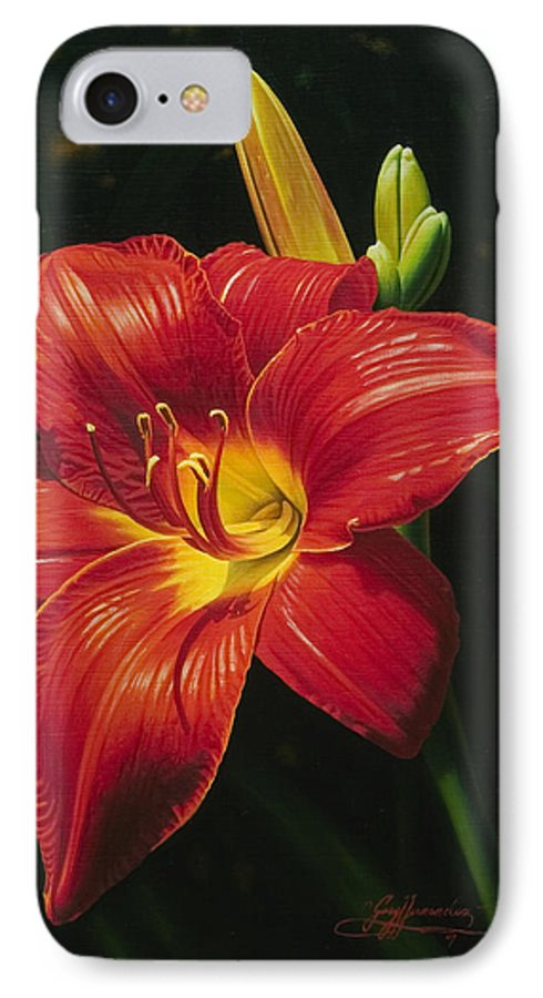 Lily IPhone 7 Case featuring the painting Monikas Red Lily by Gary Hernandez