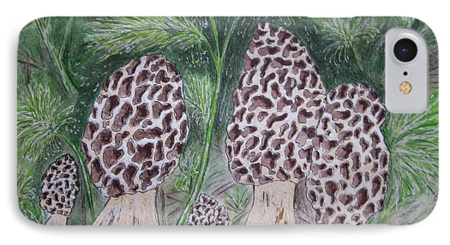 Morel IPhone 7 Case featuring the painting Morel Mushrooms by Kathy Marrs Chandler