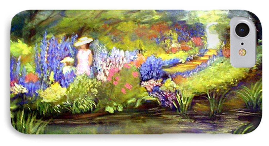 Flower Garden IPhone 7 Case featuring the painting Mother And Daughter by Gail Kirtz