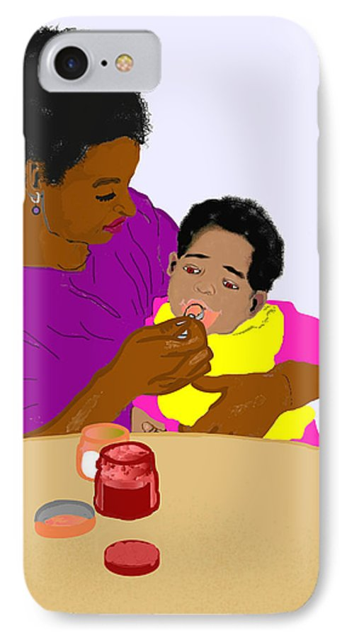 Mother IPhone 7 Case featuring the painting Mother Feeding Her Baby by Pharris Art