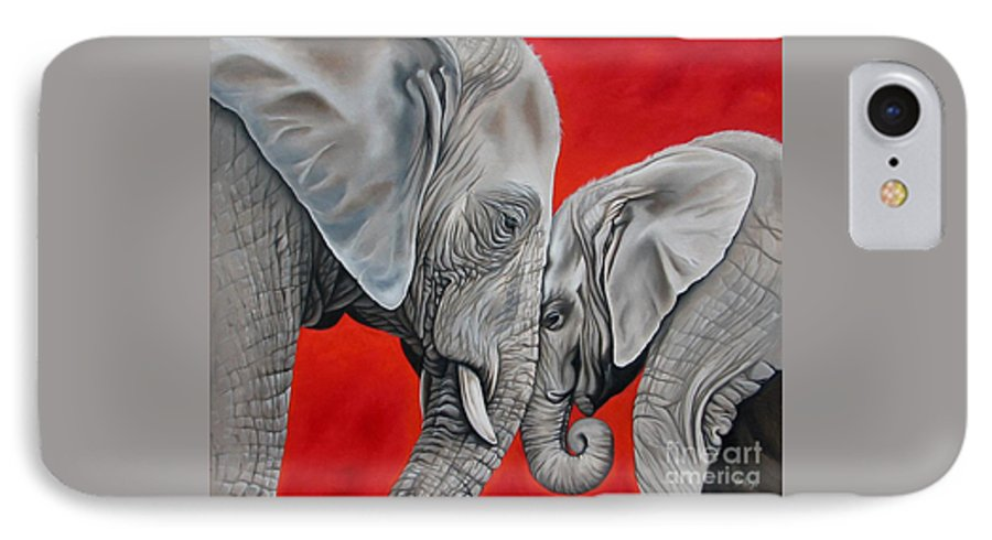 Elephant IPhone 7 Case featuring the painting Mothers Love by Ilse Kleyn