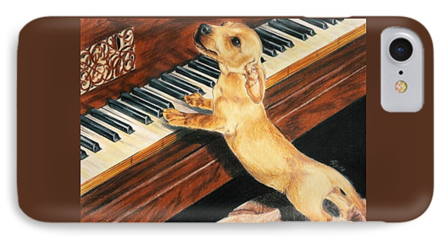 Purebred Dog IPhone 7 Case featuring the drawing Mozart's Apprentice by Barbara Keith