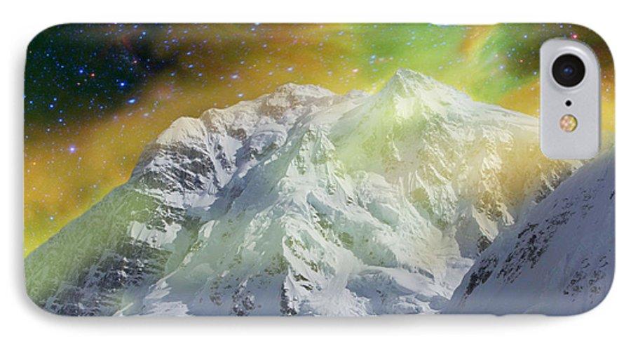 Alaska IPhone 7 Case featuring the photograph Mt. Hunter Aurora # Da 129 by Dianne Roberson