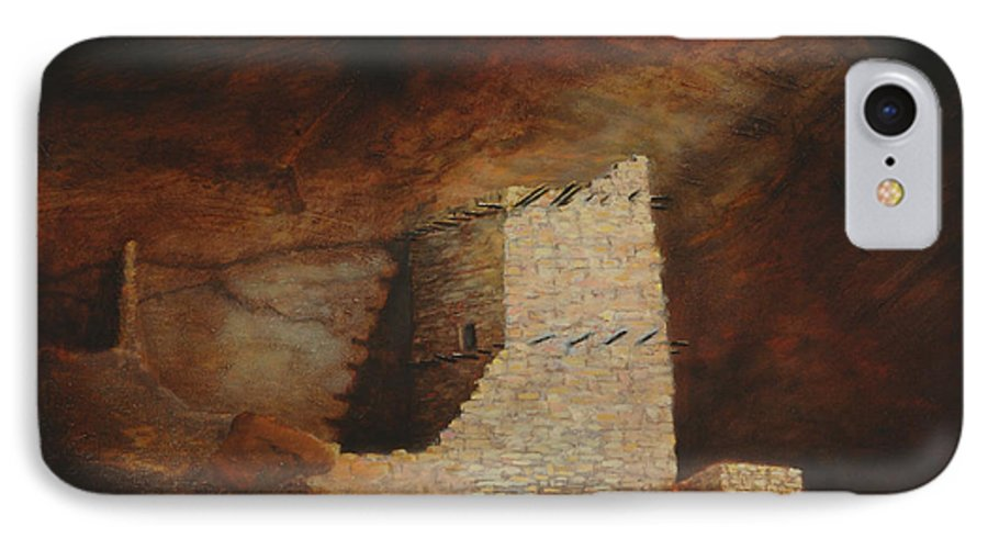 Anasazi IPhone 7 Case featuring the painting Mummy Cave by Jerry McElroy