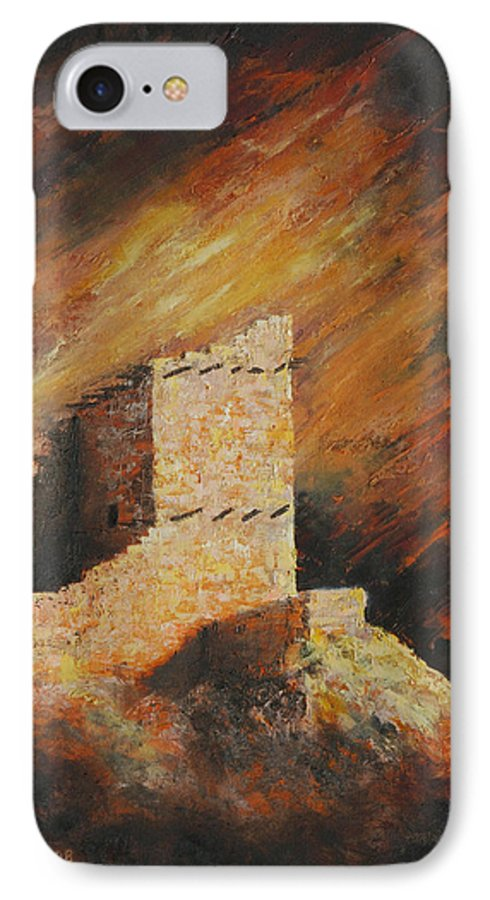 Anasazi IPhone 7 Case featuring the painting Mummy Cave Ruins 2 by Jerry McElroy