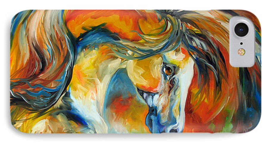 Equine IPhone 7 Case featuring the painting Mustang West by Marcia Baldwin