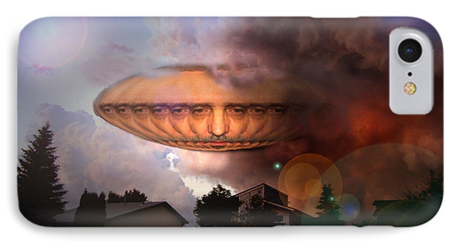 Surrealism IPhone 7 Case featuring the digital art Mystic Ufo by Otto Rapp