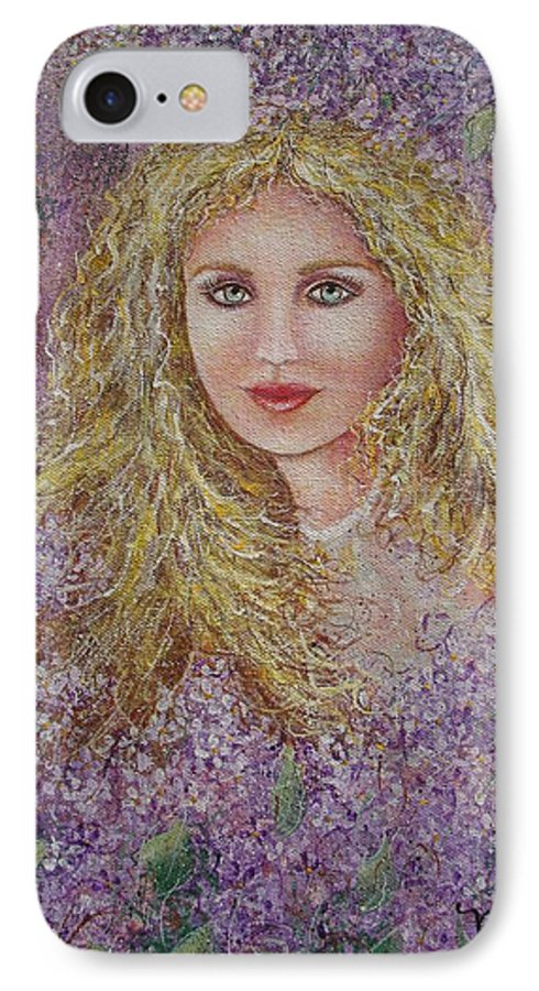 Portrait IPhone 7 Case featuring the painting Natalie In Lilacs by Natalie Holland