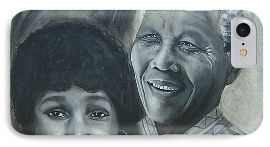 From Black & White Series IPhone 7 Case featuring the painting Nelson And Winnie by Howard Stroman