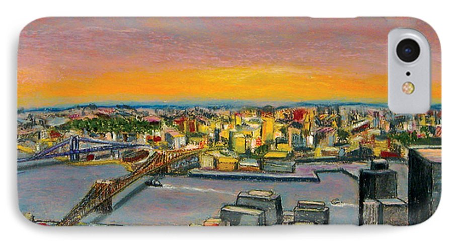 Cityscape IPhone 7 Case featuring the painting New York 38 by Karin Batten